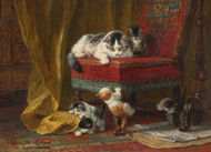 Mother's Pride by Henriette Ronner-Knip Framed Print on Canvas