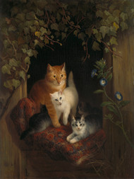 Cat with Kittens 1844 by Henriette Ronner-Knip Framed Print on Canvas