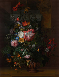Roses, Convolvulus, Poppies, and Other Flowers in an Urn on a Stone Ledge 1680 by Rachel Ruysch Framed Print on Canvas