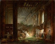 A Hermit Praying in the Ruins of a Roman Temple 1760 by Hubert Robert Framed Print on Canvas