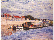 Barges on the Loing at Saint-Mammes 1885 by Alfred Sisley Framed Print on Canvas