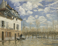 Boat in the Flood at Port Marly 1876 by Alfred Sisley Framed Print on Canvas