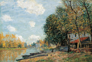 The Banks of the River Loing 1877 by Alfred Sisley Framed Print on Canvas