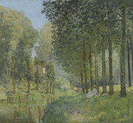 Rest along the Stream Edge of the Wood 1878 by Alfred Sisley Framed Print on Canvas