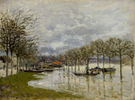 The Flood on the Road to Saint-Germain 1876 by Alfred Sisley Framed Print on Canvas