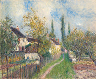 A path at Les Sablons 1883 by Alfred Sisley Framed Print on Canvas