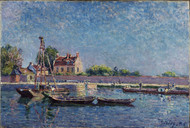 The Lock of Saint-Mammes 1885 by Alfred Sisley Framed Print on Canvas