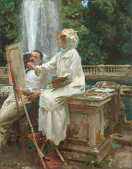 The Fountain, Villa Torlonia, Frascati, Italy 1907 by John Singer Sargent Framed Print on Canvas
