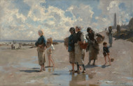 Fishing for Oysters at Cancale 1878 by John Singer Sargent Framed Print on Canvas