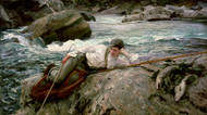 On his Holidays, Norway 1901 by John Singer Sargent Framed Print on Canvas