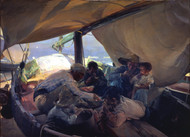 Lunch on the Boat 1898 by Joaquin Sorolla Framed Print on Canvas
