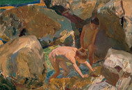 Children Looking for Shellfish 1919 by Joaquin Sorolla Framed Print on Canvas