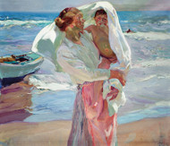 After Bathing 1915 by Joaquin Sorolla Framed Print on Canvas