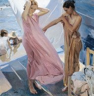 After Bathing, Valencia 1909 by Joaquin Sorolla Framed Print on Canvas
