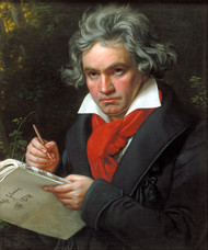 Portrait of Ludwig van Beethoven when composing the Missa Solemnis by Joseph Karl Stieler Framed Print on Canvas