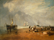 The Fish Market at Hastings Beach 1810 by Joseph Turner Framed Print on Canvas