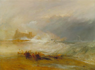 Wreckers -- Coast of Northumberland, with a Steam-Boat Assisting a Ship off Shore 1833 by Joseph Turner Framed Print on Canvas