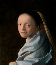 Study of a Young Woman 1665 by Johannes Vermeer Framed Print on Canvas