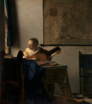 Young Woman with a Lute 1662 by Johannes Vermeer Framed Print on Canvas