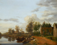 Country House on the Vliet near Delft 1665 by Jan van der Heyden Framed Print on Canvas