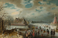 Skating on the Frozen Amstel River 1611 by Adam van Breen Framed Print on Canvas