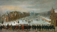 Winter landscape with ice skaters on the Hofvijver lake in The Hague by Adam van Breen Framed Print on Canvas