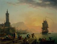 A Calm at a Mediterranean Port 1770 by Claude Joseph Vernet Framed Print on Canvas