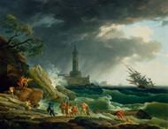 A Storm on a Mediterranean Coast 1767 by Claude Joseph Vernet Framed Print on Canvas