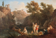The four times of day: Evening 1757 by Claude Joseph Vernet Framed Print on Canvas
