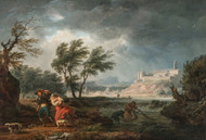 The four times of day: Midday 1757 by Claude Joseph Vernet Framed Print on Canvas