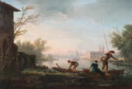 The four times of day: Morning 1757 by Claude Joseph Vernet Framed Print on Canvas