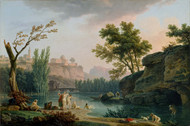 Summer Evening, Landscape in Italy 1773 by Claude Joseph Vernet Framed Print on Canvas