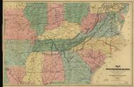 1866 Civil War Map of Railroads  1862-1866 Framed Print on Canvas