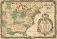 1858 Map of the eastern half of the United States Framed Print on Canvas