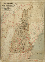 1894 Railroad map of New Hampshire Framed Print on Canvas
