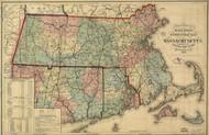 1879 Railroad & township map of Massachusetts Framed Print on Canvas