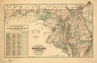 1876 Railroad map of the state of Maryland, Delaware, and the District of Columbia Framed Print on Canvas