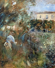 Woman in the garden (Villa Arnulphi in Nice) by Berthe Morisot Framed Print on Canvas