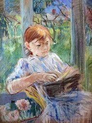 Young girl Reading by Berthe Morisot Framed Print on Canvas