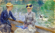 Summer day - The Lake in the Bois de Boulogne 1879 by Berthe Morisot Framed Print on Canvas