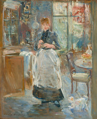 In the Dining Room 1875 by Berthe Morisot Framed Print on Canvas