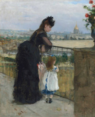 Woman and Child on the Balcony 1872 by Berthe Morisot Framed Print on Canvas