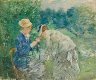 In the Bois de Boulogne by Berthe Morisot Framed Print on Canvas