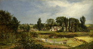 Long Island Homestead, Study from Nature 1859 by Andrew W Warren Framed Print on Canvas