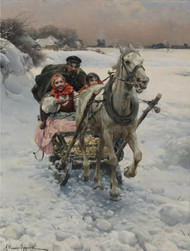 A Merry Ride by Alfred Wierusz-Kowalski Framed Print on Canvas