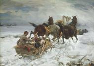 Horse-drawn sleigh by Alfred Wierusz-Kowalski Framed Print on Canvas