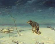 The Lone Wolf by Alfred Wierusz-Kowalski Framed Print on Canvas