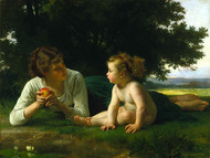 Temptation 1880 by William Adolph Bouguereau Framed Print on Canvas