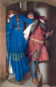 The Meeting on the Turret Stairs by Frederic William Burton Framed Print on Canvas