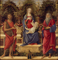 Madonna and Child with both Saints John 1484 by Sandro Botticelli Framed Print on Canvas